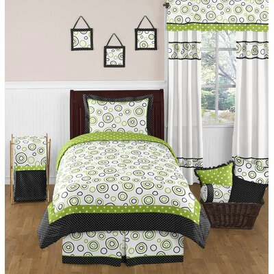 Spirodot Lime and Black Twin Bedding Collection