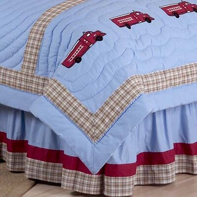 Frankies Firetruck Queen Bed Skirt