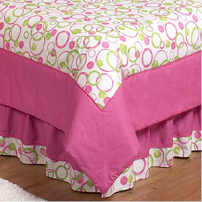 Circles Pink Queen Bed Skirt