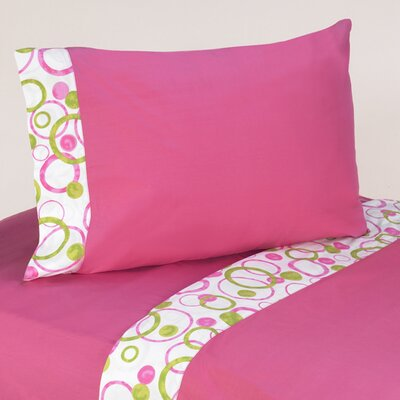 Circles Pink 4 Piece 100% Cotton Sheet Set Size: Queen