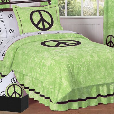 Peace Comforter Set Size: Full / Queen, Color: Blue