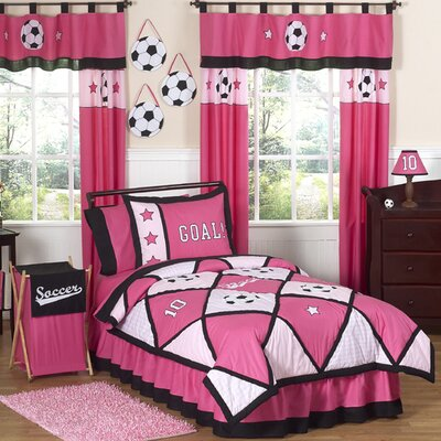 Soccer Pink Comforter Set Size: Full/Queen