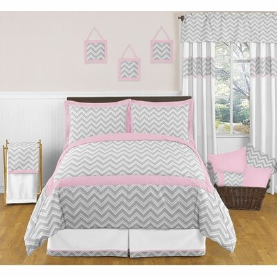 Zig Zag Queen Bed Skirt Color: Grey and Pink