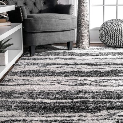 Stamant Black Area Rug Rug Size: Rectangle 82 x 116