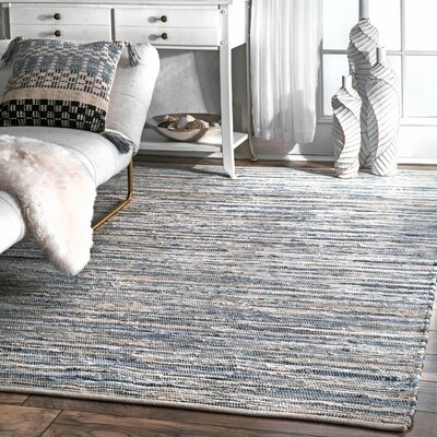 Biehl Hand Loomed Cotton Blue/Beige Area Rug Rug Size: Rectangle 76 x 96