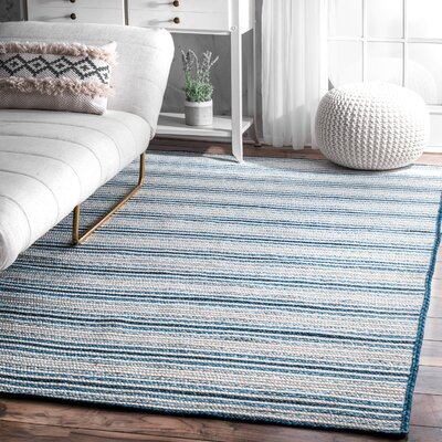Spalding Hand Braided Blue Area Rug Rug Size: Rectangle 5 x 8