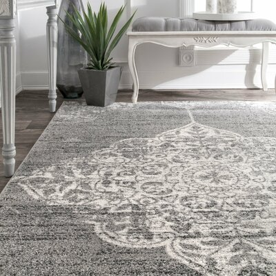 Exaucet Gray Area Rug Rug Size: Rectangle 76 x 96