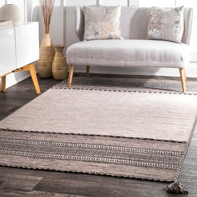 Aleshire Hand Loomed Cotton Light Beige Area Rug Rug Size: Rectangle 76 x 96