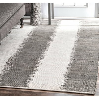 Yarbro Hand Loomed Cotton Gray/Off-White Area Rug Rug Size: Rectangle 76 x 96