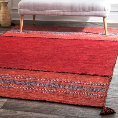 Alessi Hand Loomed Cotton Red Area Rug Rug Size: Rectangle 76 x 96