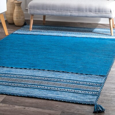 Alexandria Hand Loomed Cotton Blue Area Rug Rug Size: Rectangle 76 x 96