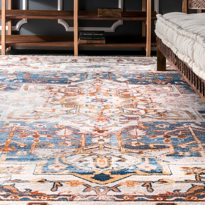 Martell Beige/Dark Blue Area Rug Rug Size: Rectangle 5 x 79
