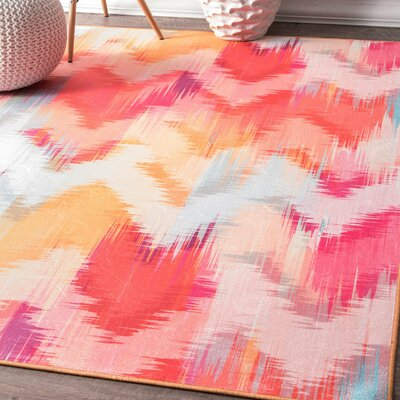 San Jose Pink/Orange Area Rug Rug Size: Rectangle 5 x 75