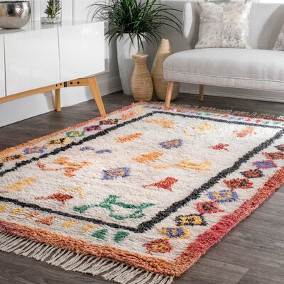 Danbrook Hand Tufted Ivory Area Rug Rug Size: Rectangle 76 x 96