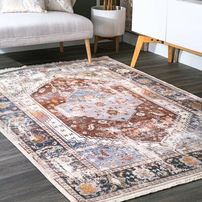 Okeechobee Rust/Blue Area Rug Rug Size: Rectangle 3 x 5