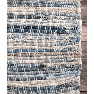 Biehl Hand Loomed Cotton Blue/Beige Area Rug Rug Size: Rectangle 9 6 x 13 6