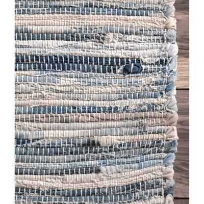 Biehl Hand Loomed Cotton Blue/Beige Area Rug Rug Size: Rectangle 9 6 x 13 6