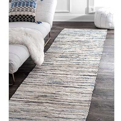 Biehl Hand Loomed Cotton Blue/Beige Area Rug Rug Size: Runner 26 x 8