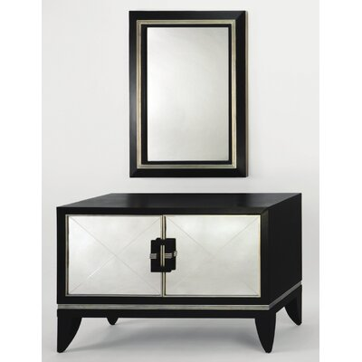 Cheap Artmax Accent Cabinet and Mirror Set in Black and Old World Silver (RXE1036)