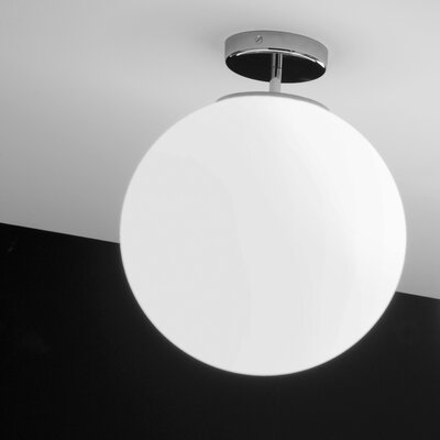 Sferis 1-Light Semi Flush Mount Finish: White, Size: 12.6 H x 9.8 W x 9.8 D, Bulb Type: E26 75W Max Incandescent