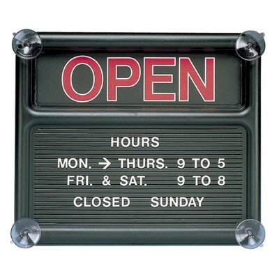 Open/Closed Sign, 318 Characters for Custom Msgs, 14x12, Black (Set of 3)