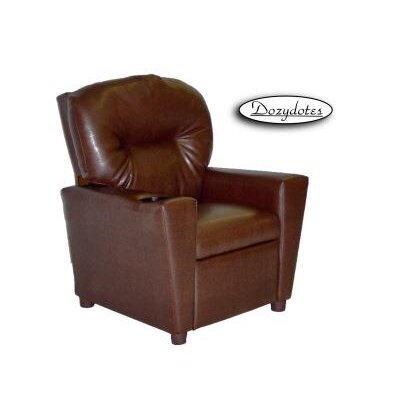 Like Kids Leather Recliner with Cup Holder Color: Pecan Brown 1300 Pecan