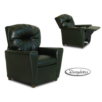 Like Kids Leather Recliner with Cup Holder Color: Black 9774