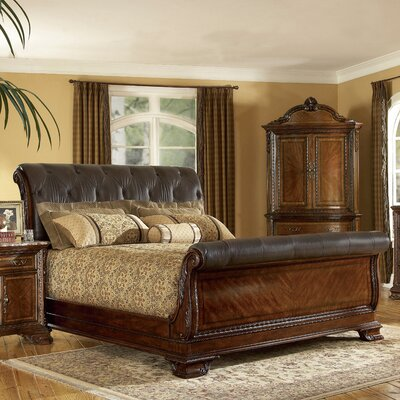 Art Furniture Old World Leather Sleigh Bed