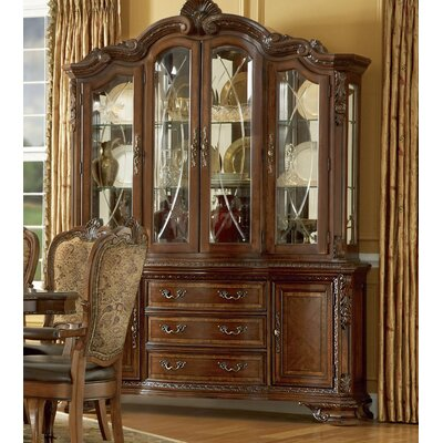 Cheap A.R.T. Old World China Cabinet in Warm Pomegranate (ATF1186)