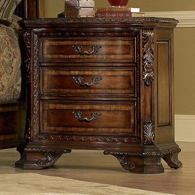 Brussels 3 Drawer Nightstand