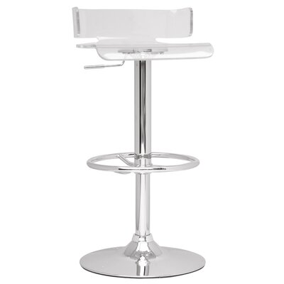 Adjustable Height Swivel Bar Stool Upholstery: Clear