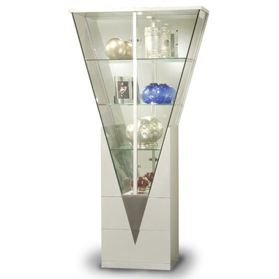 Curio Cabinet with Mirrored Interior Finish: Silver