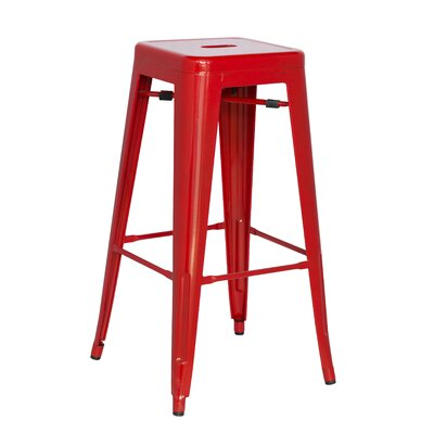 Toms 29.92 Bar Stool (Set of 4) Finish: Red