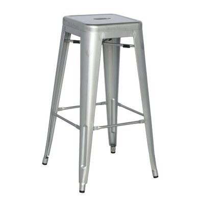 Toms 29.92 Bar Stool (Set of 4) Finish: Silver