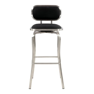 Modern 30.31 inch Bar Stool Upholstery: Black