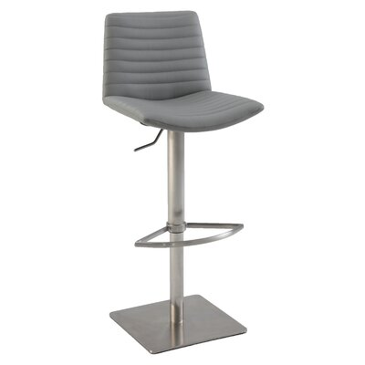 Adjustable Height Bar Stool Upholstery: Grey