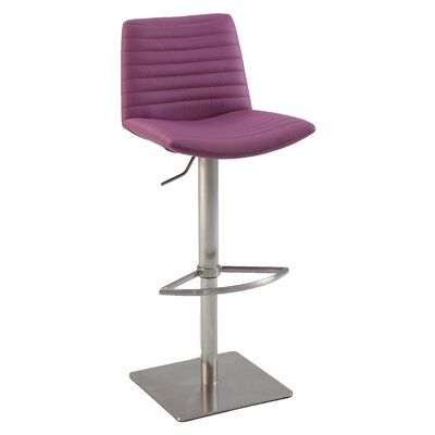 Adjustable Height Bar Stool Upholstery: Purple