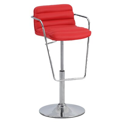 Adjustable Height Bar Stool with Cushions Upholstery: Red