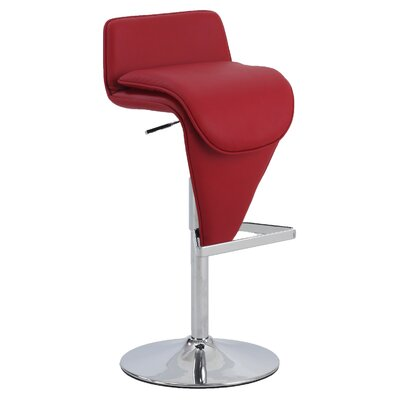 Adjustable Height Bar Stool Upholstery: Red Wine