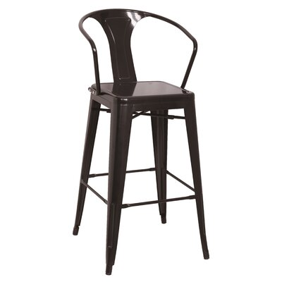 Toms 30 Bar Stool (Set of 4) Finish: Black