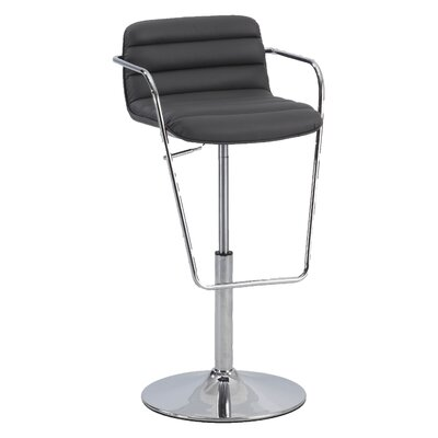 Adjustable Height Bar Stool with Cushions Upholstery: Grey