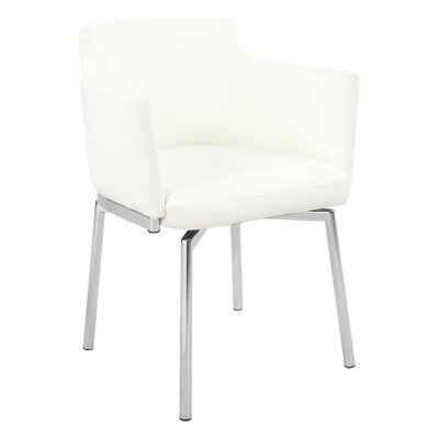 Linwood Club Style Swivel Arm Chair (Set of 2) Color: White