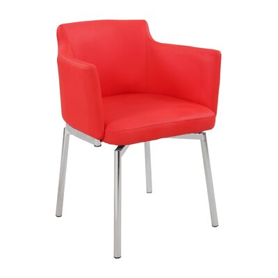 Linwood Club Style Swivel Arm Chair (Set of 2) Upholstery: Red