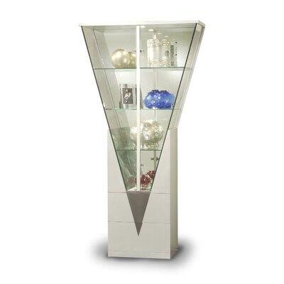 Cheap Chintaly Triangular Curio Cabinet with Mirrored Interior in Silver (CNI1755)