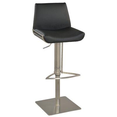 Adjustable Height Bar Stool Upholstery: Black