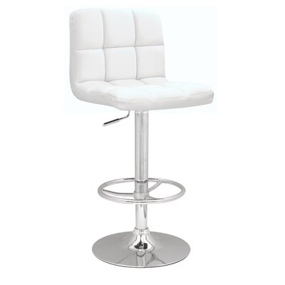 Adjustable Height Swivel Bar Stool Upholstery: White PU