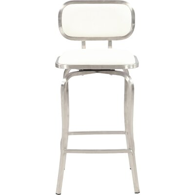 Modern 25.98 Swivel Bar Stool Upholstery: White