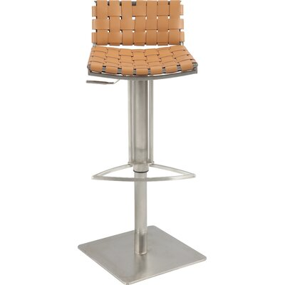 Chintaly 0882 Basket Weave Seat & Back Pneumatic Gas Lift Adjustable Swivel Stool In Camel Reg. Leather 0882-AS-CML