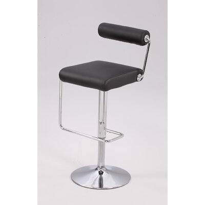 Adjustable Height Swivel Bar Stool Upholstery: Black PU