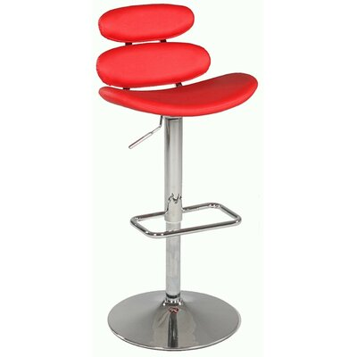 Pneumatic Gas Adjustable Height Swivel Bar Stool Upholstery: Red